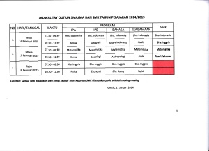 REVISI JADWAL TRY OUT UN SMA,MA,SMK TH. 2015